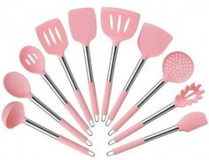 Shop for Pink Cooking Utensils in Kitchen Tools & Gadgets. Buy products such as Kitchen Cooking Silicone Spatula Heat Resistant Turner Scraper Baking Utensils Pink at Walmart and save. Kitchen Utensils, Cooking Utensils, Kitchen Tools, Kitchen Gadgets, Pink Kitchen Appliances, Kitchen Cupboard, Cooking Tools, Pink Kitchen Decor, Stainless Steel Utensils