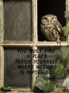 You must find a place inside yourself where nothing is impossible.~ Depak Chopra