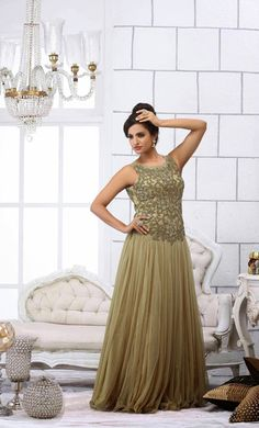 USD 412.82 Brown Net Karachi Work Party Wear Gown   40349
