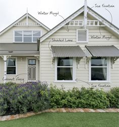 Exterior, : Handsome Home Exterior Decoration With White Cream Outdoor Color Schemes Along With Metal Window Awning And Ice Fountain Wood Si...