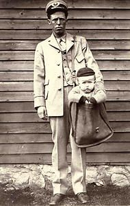 "From the National Postal Museum's archives:  ""Uniformed letter carrier with child in mailbag  Photographer: Unknown  Date created: c. 1900  After parcel post service was introduced in 1913, at least two children were sent by the service (with stamps attached to their clothing, the children rode with railway and city carriers to their destination). The Postmaster General quickly issued a regulation forbidding the sending of children in the mail after hearing of those examples."""