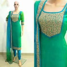 A round neck pattern with a short V is pretty popular these days and this can be tried on all kinds of churidars. Raglan neck design will look cool on your cotton. This type of churidar flaunts your feminine body. Asymmetric is the way to go in Churidar Neck Designs, Kurta Neck Design, Salwar Designs, Kurta Designs Women, Kurti Designs Party Wear, Dress Neck Designs, Blouse Designs, Indian Dresses, Indian Outfits