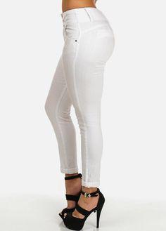 White Mid Rise Butt Lifting Crinkled Skinny Jeans