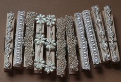 Lace covered clothes pins for Lacey and Jarrod's wedding. Source by billemaus pin crafts Decorated Clothes Pins, Painted Clothes Pins, Clothes Pegs, Clothes Crafts, Craft Stick Crafts, Crafts To Sell, Paper Crafts, Clothespin Magnets, Craft Show Ideas