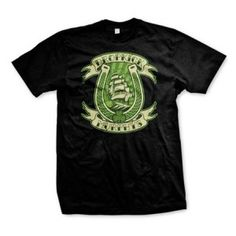 Dropkick Murphys Horseshoe Tee - This 100% cotton Dropkick Murphys Horseshoe T-shirt features a horseshoe, ship and shamrock graphics.