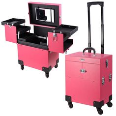 New AW Pro Rolling Makeup Case Artist Beauty Train Case Trolley Cosmetic Organizer Box Handle Mirror 4 Wheels online - Findhitstoday Makeup Case On Wheels, Rolling Makeup Case, Makeup Train Case, Makeup Box, Makeup Storage, Makeup Organization, Gold Makeup, Pink Makeup, Glitter Makeup