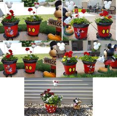 Thanks to Buzz Feed (see other post) for showing me how to make the yellow buttons to make Mickey planters. I added Disney characters to the opposite sides. The Disney characters are at both Home Depot and Kmart. They are all decorations. Cozinha Do Mickey Mouse, Mickey Mouse Lamp, Minnie Mouse, Disney Home Decor, Disney Diy, Disney Crafts, Disney Mickey, Clay Pot Projects, Clay Pot Crafts