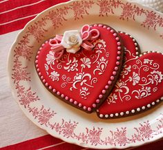 Stenciled Valentine's Day Cookies, by Julia Usher