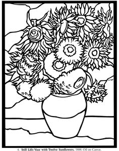 Painting Famous Artists Van Gogh Coloring Pages 29 Ideas Vase With Twelve Sunflowers, Van Gogh Sunflowers, Vincent Van Gogh, Sunflower Coloring Pages, Coloring Book Pages, Van Gogh Arte, Sunflower Colors, Paintings Famous, Art Worksheets