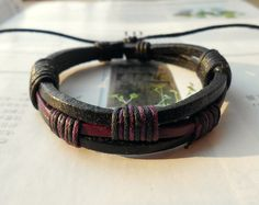 Christmas Gift Fashion Multilayer Black Purple Leather Cuff and Cotton cords Adjustable Wrap Bracelet M-68