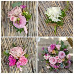 Bruidswerk; bruidsboeket voor haar , bruidscorsage, kindercorsage, gastencorsage. -- Hera roos, phlox, lila bolchrysant, trosroosje, roze gipskruid -- Floral Wreath, Wreaths, Plants, Decor, Flower Crowns, Door Wreaths, Flora, Decorating, Deco Mesh Wreaths