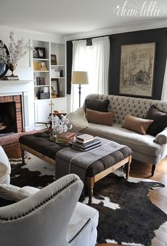 at home with dear lillie summer home tour with jenni / love the light & dark contrast in this living room. New Living Room, Living Room Interior, Home And Living, Living Room Furniture, Living Room Decor, Cow Hide Rug Living Room, Den Furniture, Living Room Bench, Velvet Furniture
