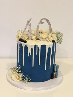 Navy Blue drip cake