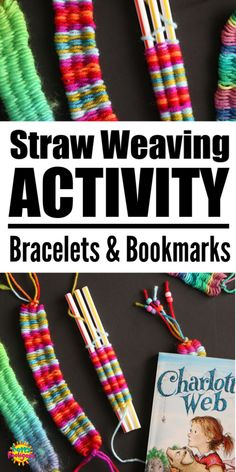 Weaving on drinking straws is fun and easy. Kids can make bookmarks, bracelets, hairbands and more. Great craft for teens and tweens. Super activity for craft camp! Yarn Crafts For Kids, Easy Arts And Crafts, Straw Crafts, Crafts For Camp, Teen Summer Crafts, Fun Crafts For Girls, Easy Yarn Crafts, Arts And Crafts For Adults, Arts And Crafts For Teens