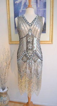 1920s Style Silver STARLIGHT Beaded Flapper Dress-XL #Handmade