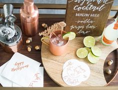 Copper & Jewel Tone Thanksgiving Party | Cocktail menu by the bar cart