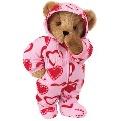 "15"" Sweetheart Hoodie-Footie Bear from Vermont Teddy Bear. $69.99 #ValentinesDay #Gift #TeddyBear"