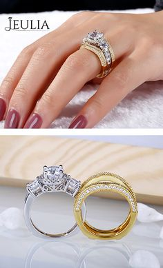 Discover our unique selection of wedding jewelry for women & men with HD Video. Jeulia offers premium quality jewelry at best price, shop now! Wedding Rings Sets His And Hers, Wedding Ring For Her, Wedding Jewelry, Jewelry Sets, Jewelry Stores, Women Jewelry, Emerald Ring Gold, Gold Ring Designs, Engagement Ring Styles