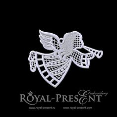 Free Machine Embroidery Design – Lace Angel | Royal Present Embroidery