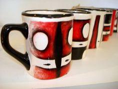 Selk'nam mugs! Patagonia, Anthropologie, Objects, Pottery, Ornaments, Stone, Tableware, Design, Block Prints