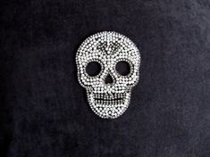 Pearl Skull With Rhinestone Patch,Iron On Pearl Skull Applique,Rhinestone Skull Applique,Pearl Skull