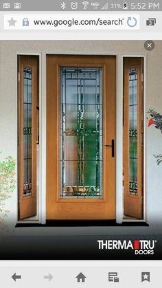 Therma-Tru Fiber-Classic Oak Collection fiberglass door with Saratoga decorative glass and vented sidelites. House Front Door, Glass Front Door, Glass Door, Front Porch, Exterior Doors, Interior And Exterior, Best Front Doors, Fiberglass Entry Doors, Front Door Design