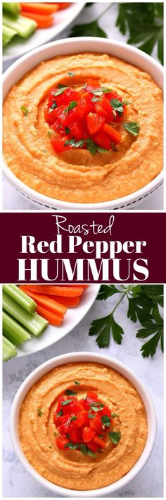 Roasted Red Pepper Hummus Recipe - quick and easy hummus with homemade roasted red peppers and no tahini! So much better than store bought! Quick Appetizers, Appetizer Dips, Appetizers For Party, Appetizer Recipes, Party Snacks, Night Snacks, Cold Snacks, Cold Dips, Party Party