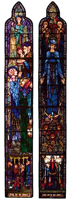 The Presentation in the Temple and The Immaculate Conception 1925  St Mary's Church, Ballinrobe. This is a wonderful example of the stained-glass art of Harry Clarke which can be found in a number of locations in Co. Mayo, Ireland.