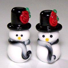 Handmade Lampwork Pair of TopHatted Snowmen Beads by shufflestudio, $9.00