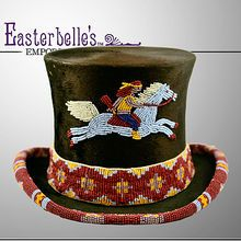Antique Beaver Fur Top Hat with 1970's Beading of Native American Motif