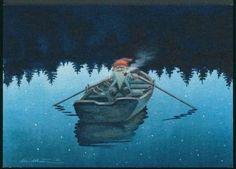 Row, row, row your boat. Illustrations, Illustration Art, Baumgarten, Nordic Art, Mythological Creatures, Christmas Illustration, Old Postcards, Magical Creatures, Christmas Art
