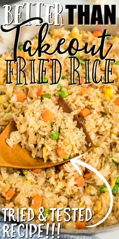 Better Than Takeout Fried Rice - This quick and easy fried rice recipe is better than take out. It's restaurant style, but created - Better Than Takeout Fried Rice - This quick and easy fried rice recipe is better than take out. It's restaurant style, bu Homemade Chinese Food, Easy Chinese Recipes, Easy Rice Recipes, Asian Recipes, Chinese Rice Recipe, Quick And Easy Recipes, Jasmine Rice Recipes, Authentic Chinese Recipes, Easy Stirfry Recipes