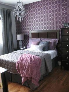 gray purple bedroom