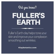 Fuller's Earth Clay is a key ingredient used in the Vedamin-C clay mask to improve your skins appearance. See link in bio for KLAY Botanics website to get botanical and Ayurvedic clay masks. Fullers Earth, Beauty Tips, Beauty Hacks, Clay Masks, Key Ingredient, Your Skin, Did You Know, Improve Yourself, How To Get