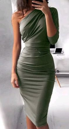 NATTEMAID elegant one shoulder bandage bodycon dress Women sexy half sleeve party dress 2017 knee length black dresses vestidos Fitted Midi Dress, Sheath Dress, Dress Skirt, Bodycon Dress Formal, Khaki Dress, Gray Dress Outfit, Casual Midi Dress, Mens Dress Outfits, Dress Shoes