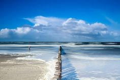 The flooded beach of Ameland by Ton Drijfhamer on Seaside, Netherlands, Holland, The Outsiders, Coastal, Beautiful Places, Ocean, Vacation, Beach