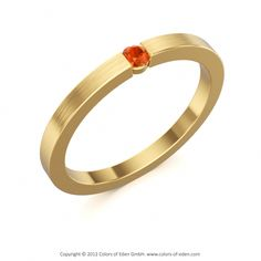 """Fire Opal Ring in Satin Finish Yellow Gold - """"Satellite"""""""