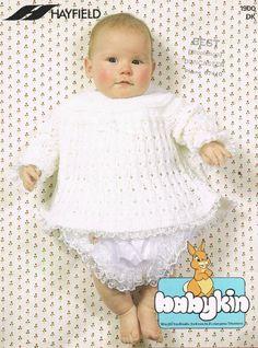 8e163dcbdef1cd Hayfield 1900 dress baby vintage knitting pattern Knitting Wool