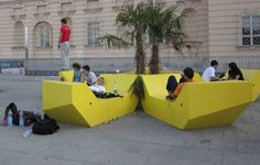 Urban Empire, yellow, Lounge Soffa in Vienna Concrete Furniture, Urban Furniture, Street Furniture, Furniture Design, Space Architecture, Architecture Portfolio, Beautiful Architecture, Architecture Diagrams, Urban Landscape