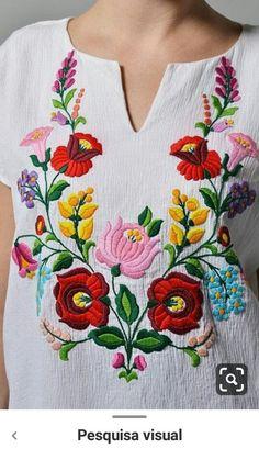 Herb Embroidery, Embroidery On Kurtis, Kurti Embroidery Design, Hungarian Embroidery, Embroidery On Clothes, Embroidery Works, Embroidered Clothes, Hand Embroidery Designs, Floral Embroidery