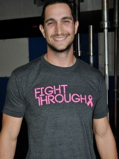 Great mens breast cancer awareness shirt. Part of the profits goto Susan G. Komen 3 Day for the cure! Check it out www.FightThrough.com