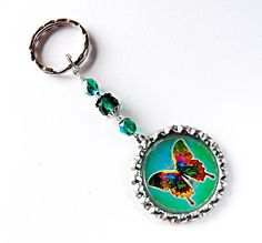 Butterfly Rear View Mirror Charm/Key Ring/Purse by CarCharmShop