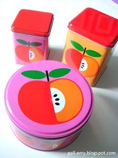 Apple tins... i bought them at Tiger