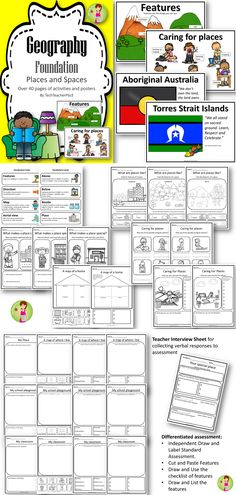 Geography Pack Foundation Year (Prep) aligned to the Australian Curriculum. Places, features and mapping activities.