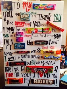 Make a candy bar letter for your boyfriend. It's not only cute but also delicious. http://hative.com/cute-valentines-day-ideas/