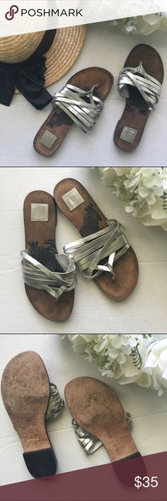 Dolce Vita // Strappy Zebra Sandals - silver Stunning slip on shoes with several silver straps from Dolce Vita. Dark brown foot bed. Small heel about 3/4th inch. These have been worn once, still in great condition. Features a zebra on each shoe. Dolce Vita Shoes Sandals