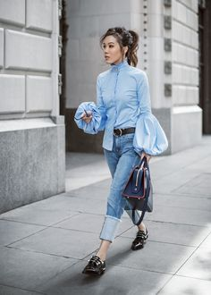 Casual Victorian – http://tsangtastic.com | Instagram @tsangtastic  CAROLINE CONSTAS Jacqueline Blouse, cuff boyfriend jeans, COLIAC LEATHER PIERCING SHOES, LOUIS VUITTON Vaneau Epi leather bag