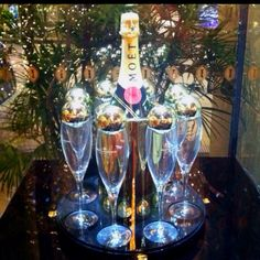 Holiday champagne display