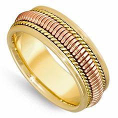 14K Gold 8mm Rose Spring Coil Yellow Milgrain Rope Wedding Band