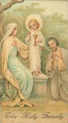 The Holy Family Mary, Joseph and Jesus Religious Pictures, Religious Icons, Religious Art, Catholic Art, Roman Catholic, Vintage Holy Cards, Queen Of Heaven, Les Religions, Blessed Mother Mary
